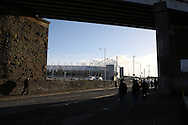 fans make their way to the Liberty Stadium ahead of the game. Premier league match, Swansea city v West Ham United at the Liberty Stadium in Swansea, South Wales on Boxing Day, Monday 26th December 2016.<br /> pic by  Andrew Orchard, Andrew Orchard sports photography.