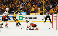 NASHVILLE, TN - MAY 22:  Jonathan Bernier #1 of the Anaheim Ducks reacts after Colton Sissons #10 of the Nashville Predators scored during the first period in Game Six of the Western Conference Final during the 2017 Stanley Cup Playoffs at Bridgestone Arena on May 22, 2017 in Nashville, Tennessee.  (Photo by Frederick Breedon/Getty Images)
