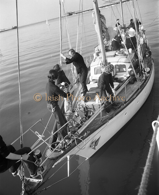"""Transatlantic Race - 'Creidne' Old Sailor .15/04/1976.04/15/1976.15th April 1976.The sail training vessel """"Creidne"""" leaves Dun Laoghaire to participate in the transatlantic races of sail training vessels organised to coincide  with the American Bicentennial Commemoration...Picture shows the """"Creidne"""" casting off from Dun Laoghaire harbour.  Originally named Galcador, Creidne is a 48ft bermudan ketch built in Norway in 1967 as a private yacht."""