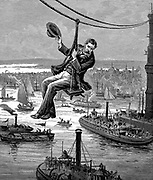 Brooklyn Suspension Bridge, New York, opened 1883:  EF Farrington, master mechanic, testing the first span of wire cables.  Bridge Designed and built by JA Roebling and his son WA Roebling. Wood engraving c1900.