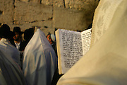 Israel, Jerusalem, Jewish men at prayer At the wailing wall, Jerusalem