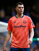 Everton's Michael Keane in action during an English Premier League soccer match between Chelsea and Everton at Stamford Bridge stadium, Sunday, March 8, 2020, in London, United Kingdom. Chelsea defeated Everton 4-0. (Mitchell Gunn-ESPA Images/Image of Sport via AP)