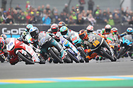 Moto3 Race winner #17 John MCPHEE	GBR Petronas Sprinta Racing Honda on lap 1 with #79 Ai OGURA JPN Honda Team Asia Honda and #16 Andrea MIGNO ITA Bester Capital Dubai KTM during racing on the Bugatti Circuit at Le Mans, Le Mans, France on 19 May 2019.