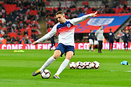 Jordan Henderson of England warming up before the UEFA European 2020 Qualifier match between England and Czech Republic at Wembley Stadium, London, England on 22 March 2019.