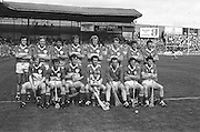 All Ireland Senior Hurling Championship Final,.Galway Vs Offaly,Offaly 2-11, Galway 1-12,.01.09.1985, 09.01.1985, 1st September 1985,.01091985AISHCF,.Back row, Pat Fleury captain, Joachim Kelly, Tom Conneely, Eugene Coughlan, Pat Delaney, Joe Dooley, Padraig Horan, Aidan Fogarty, Front row, Danny Owens, Brendan Bermingham, Pat Cleary, Ger Coughlan, Jim Troy, Mark Corrigan, Paddy Corrigan,