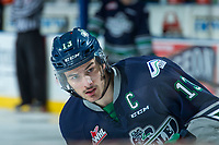 KELOWNA, CANADA - APRIL 25: Mathew Barzal #13 of the Seattle Thunderbirds warms up against the Kelowna Rockets on April 25, 2017 at Prospera Place in Kelowna, British Columbia, Canada.  (Photo by Marissa Baecker/Shoot the Breeze)  *** Local Caption ***