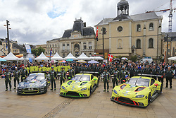 June 11, 2018 - Le Mans, FRANCE - 98 ASTON MARTIN RACING (GBR) ASTON MARTIN VANTAGE GTE AM PAUL DALLA LANA (CAN) PEDRO LAMY (PRT) MATHIAS LAUDA (AUT) #97 ASTON MARTIN RACING (GBR) ASTON MARTIN VANTAGE AMR GTE PRO ALEXANDER LYNN (GBR) MAXIME MARTIN (BEL) JONATHAN ADAM (GBR) #95 ASTON MARTIN RACING (GBR) ASTON MARTIN VANTAGE AMR GTE PRO MARCO SORENSEN (DNK) NICKI THIIM (DNK) DARREN TURNER  (Credit Image: © Panoramic via ZUMA Press)