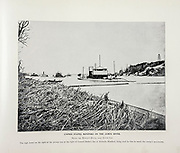 """UNITED STATES MONITORS ON THE JAMES RIVER, below the Howlett House, near Dutch Gap. <br /> The high tower on <br /> the right of the picture was at the right of General Butler's line at Bermuda Hundred, being used by him to watch the enemy's movements. from The American Civil War book and Grant album : """"art immortelles"""" : a portfolio of half-tone reproductions from rare and costly photographs designed to perpetuate the memory of General Ulysses S. Grant, depicting scenes and incidents in connection with the Civil War Published  in Boston and New York by W. H. Allen in 1894"""