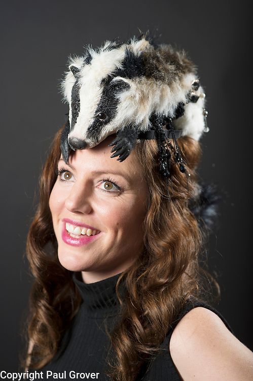 Mar0073603.DT news. Milliner Natalie Ellner pictured in her studio wearing one of her creations Prince Badger a headpiece one 1 of 11 that she is providing to dress each set of guests with spectacular animal masks and headgear at the Animal Ball 2016 on November 22nd, the world's greatest fashion houses will collaborate to dress a bestiary of beautiful creatures from all corners of British society to celebrate and protect nature's greatest masterpieces