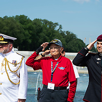 Lawrence Talamante, 94, stands at attention and renders a salute to the colors with embassy representatives from New Zealand and Norway, at the WWII memorial in Washington D.C. Jun. 06.