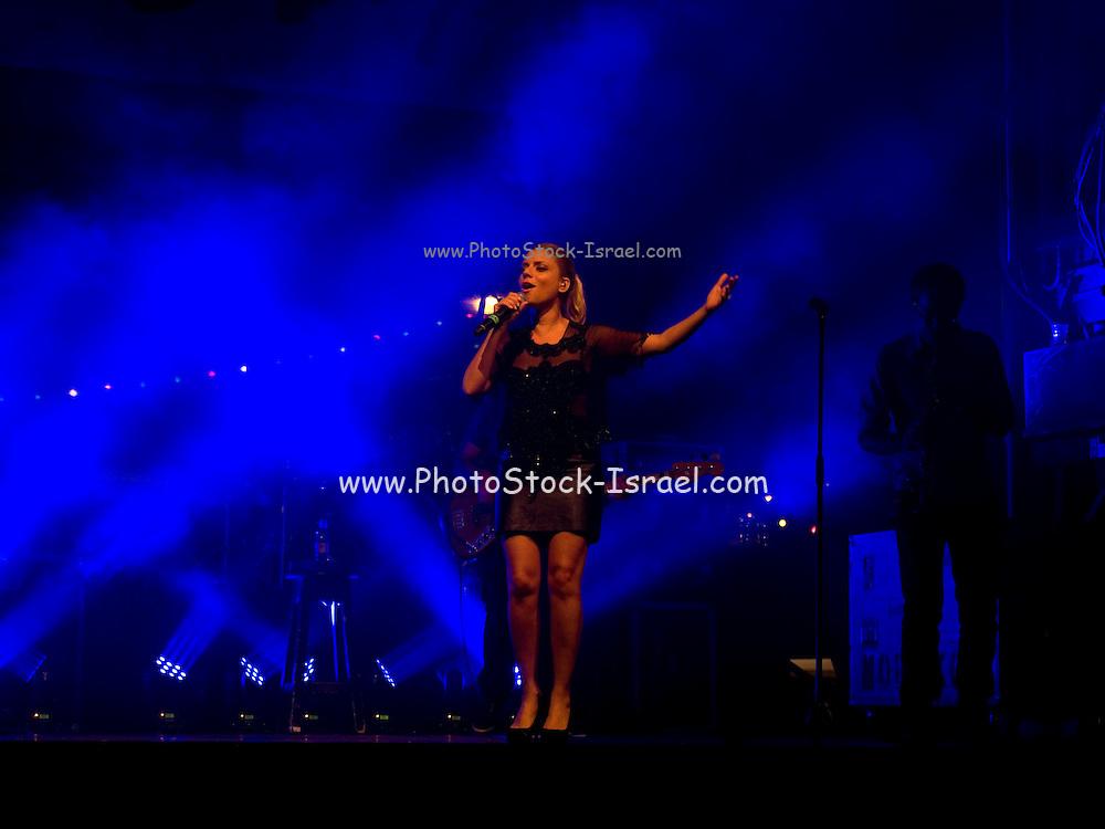 Shiri Maimon an Israeli singer vocalist during a joint performance with Shimon Buskila