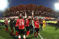 Christophe MANDANNE (Guingamp) - Thibault GIRESSE (Guingamp) - Groupe - attitude - joie - celebration - supporters