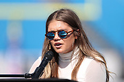 Country singer Abby Anderson plays the piano and sings the Star Spangled Banner during the Buffalo Bills 2017 NFL week 3 regular season football game against the against the Denver Broncos, Sunday, Sept. 24, 2017 in Orchard Park, N.Y. The Bills won the game 26-16. (©Paul Anthony Spinelli)