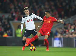 Christian Eriksen of Tottenham Hotspur (L) and Nathaniel Clyne of Liverpool in action - Mandatory by-line: Jack Phillips/JMP - 11/02/2017 - FOOTBALL - Anfield - Liverpool, England - Liverpool v Tottenham Hotspur - Premier League
