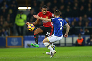 Luis Antonio Valencia of Manchester United looks to go past Leighton Baines of Everton. Premier league match, Everton v Manchester United at Goodison Park in Liverpool, Merseyside on Sunday 4th December 2016.<br /> pic by Chris Stading, Andrew Orchard sports photography.