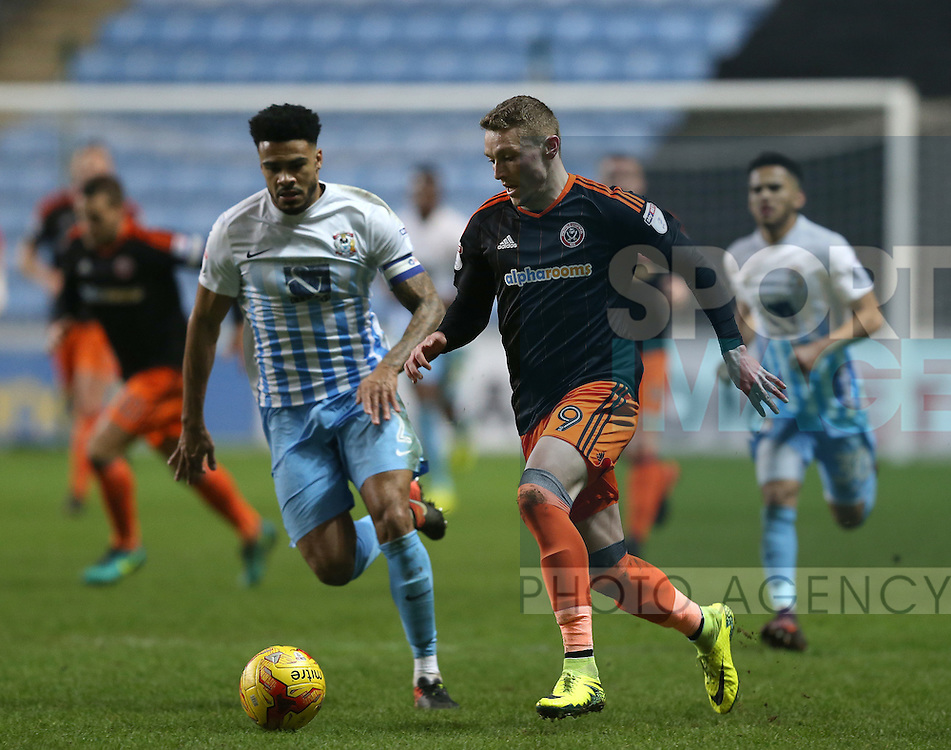 Caolan Lavery of Sheffield Utd during the English League One match at the Rioch Arena Stadium, Coventry. Picture date: December 15th, 2016. Pic Simon Bellis/Sportimage
