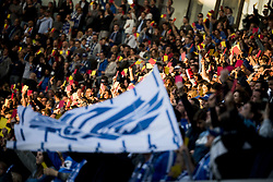 May 4, 2018 - Gent, BELGIUM - Gent's supporters showing red and yellow card as a protest against referee mistakes during the Jupiler Pro League match between KAA Gent and Sporting Charleroi, in Gent, Friday 04 May 2018, on day seven (out of 10) of the Play-Off 1 of the Belgian soccer championship. BELGA PHOTO JASPER JACOBS (Credit Image: © Jasper Jacobs/Belga via ZUMA Press)