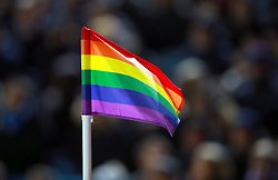 A corner flag in support of Stonewall's Rainbow Laces campaign