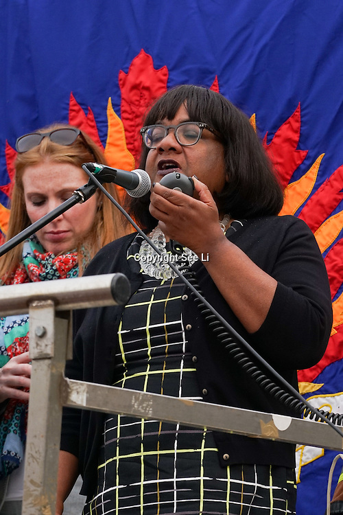 London,England,UK : 27th June 2016 : Speaker Diane Abbott MP, addresses the crowd KeepCorbyn protest against coup and Build our movement  at Parliament Square, London,UK. photo by See Li