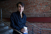 Moscow, Russia, 17/02/2011..Editor Masha Gessen at Snob magazine in their offices in a converted army factory.