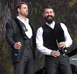 © Licensed to London News Pictures. 13/07/2014, UK. Keith Duffy & Shane Lynch. Boyzone, play British Summer Time at Hyde Park, London UK, 13 July 2014. Photo credit : Brett D. Cove/Piqtured/LNP