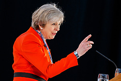 © Licensed to London News Pictures. 17/03/2017. Cardiff, UK. Prime Minister THERESA MAY speaks at Conservative Spring Forum in Cardiff, Wales on 17 March 2017. Photo credit: Tolga Akmen/LNP