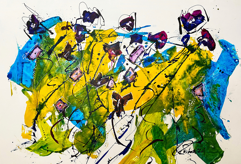"""'BIG Dog,' No. 15 of the Revival Series . 43"""" x 65"""" . Acrylic and Inks on Canvas"""