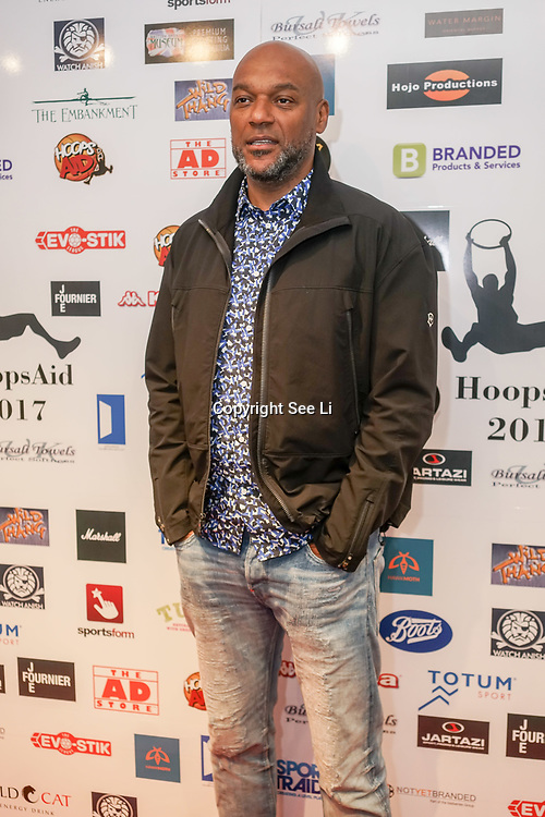 London,England,UK. 14th May 2017. Colin Salmon attend the BBL Play-Off Finals also fundraising for Hoops Aid 2017 but also a major fundraising opportunity for the Sports Traider Charity at London's O2 Arena, UK. by See Li