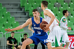 Domen Lorbek of KK Petrol Olimpija vs Leon Sntelj of KK Rogaska during 2nd leg basketball match between KK Petrol Olimpija and KK Rogaska in quarter final of  Pokal SPAR 2018/19, on January 14, 2019 in Arena Stozice, Ljubljana, Slovenia. Photo by Matic Ritonja / Sportida