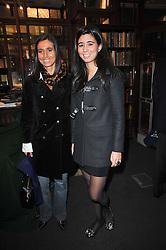 Left to right, CAROLINA BOTIN and TATIANA SHIN-BOTIN at a party to celebrate the publication of Maryam Sach's novel 'Without Saying Goodbye' held at Sotheran's Bookshop, 2 Sackville Street, London on 10th November 2009.