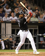 CHICAGO - SEPTEMBER 11:  Eloy Jimenez #74 of the Chicago White Sox hits a three-run home run in the first inning against the Kansas City Royals on September 11, 2019 at Guaranteed Rate Field in Chicago, Illinois.  (Photo by Ron Vesely)  Subject:   Eloy Jimenez