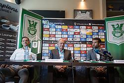 Nenad Protega, Milan Mandaric and Luka Elsner at press conference of NK Olimpija Ljubljana about new head coach Luka Elsner, on September 2, 2016 in Champions Lounge, Austria Trend Hotel, Ljubljana, Slovenia. Photo By Matic Klansek Velej / Sportida