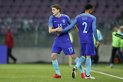 (L-R) Guus Til of Holland, Kenny Tete of Holland during the International friendly match match between Portugal and The Netherlands at Stade de Genève on March 26, 2018 in Geneva, Switzerland