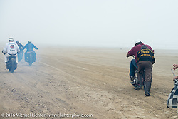 Shinya Kimura gives a push start to Alex Trepanier at TROG West - The Race of Gentlemen. Pismo Beach, CA, USA. Saturday October 15, 2016. Photography ©2016 Michael Lichter.