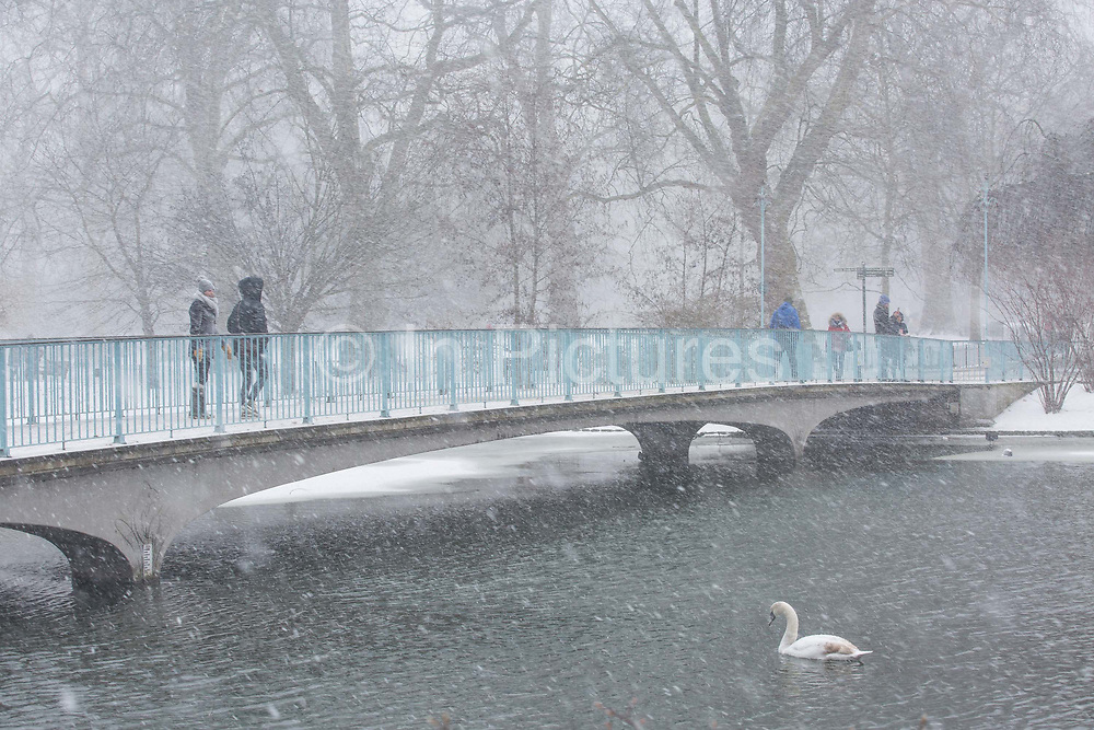 Fresh snow at St Jamess Park following the arrival of Storm Emma which is set to bring further widespread disruption to many parts of the UK on 2nd March 2018 in Central London, London, United Kingdom. Freezing weather conditions dubbed the Beast from the East brings snow and sub-zero temperatures to the UK.