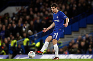Andreas Christensen of Chelsea in action. Carabao Cup , semi final 1st leg match, Chelsea v Arsenal at Stamford Bridge in London on Wednesday 10th January 2018.<br /> pic by Steffan Bowen, Andrew Orchard sports photography.