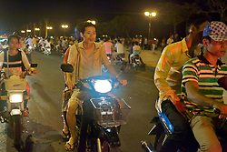Motobikes On Main Street in Phnom Penh