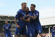 Danny Ward of Cardiff City (L) celebrates with teammates after scoring his team's first goal.EFL Skybet football league championship match, Fulham v Cardiff city at Craven Cottage in London on Saturday 9th September 2017.<br /> pic by Steffan Bowen, Andrew Orchard sports photography.