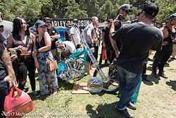Ringo Chop Shop's Martin Carlgren's 1947 SRM (Swedish Racing Motor) completely handbuilt (including the motor) 1,000 cc chopper at the Born Free 9 Motorcycle Show at Oak Creek Park. Silverado, CA. USA. Sunday June 25, 2017. Photography ©2017 Michael Lichter.