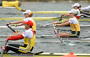 Munich, GERMANY, 30.08.2007, AUS W2-, Bow, Kim CROW and Sarah COOK,  move way from the start in their Semi-Final of the Women's pairs.  Fifth day, at the 2007 World Rowing Championships, taking place on the   Munich Olympic Regatta Course, Bavaria [Mandatory Credit. Peter Spurrier/Intersport Images]..... , Rowing Course, Olympic Regatta Rowing Course, Munich, GERMANY