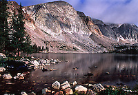 Lake Marie below the Snowy Range of the Medicine Bow Mountains.  Wyoming, USA.