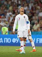 WM 2018, Uruguay - Portugal (180630) -- SOCHI, June 30, 2018 -- Cristiano Ronaldo of Portugal reacts during the 2018 FIFA World Cup WM Weltmeisterschaft Fussball round of 16 match between Uruguay and Portugal in Sochi, Russia, June 30, 2018. Uruguay won 2-1 and advanced to the quarter-final. ) (SP)RUSSIA-SOCHI-2018 WORLD CUP-ROUND OF 16-URUGUAY VS PORTUGAL YexPingfan PUBLICATIONxNOTxINxCHN