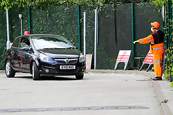 © Licensed to London News Pictures. 13/05/2020. London, UK. A car arrives at Western Road Reuse & Recycling Centre in Haringey, north London which opened this morning after seven weeks of the coronavirus lockdown. Photo credit: Dinendra Haria/LNP