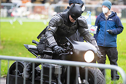 © Licensed to London News Pictures. 13/10/2020. Liverpool, UK. A Batman stunt double films a scene at Anfield Cemetery, Liverpool for The Batman film. Photo credit: Kerry Elsworth/LNP