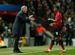 October 2, 2018 - Manchester, United Kingdom - Jose Mourinho manager of Manchester United urges on his players during the UEFA Champions League Group H match at Old Trafford Stadium, Manchester. Picture date: 2nd September 2018. Picture credit should read: Andrew Yates/Sportimage(Credit Image: © Andrew Yates/CSM via ZUMA Wire)