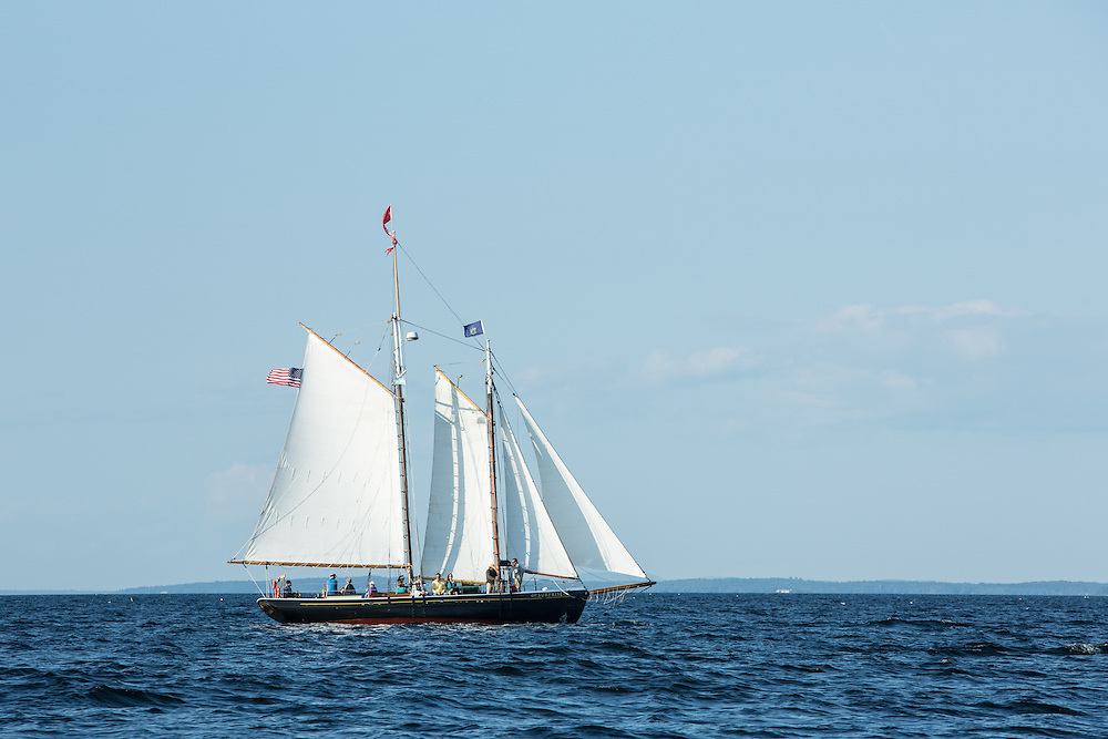 Camden, ME - 10 August 2014. Schooner Surprise, with tourists on board,  off of Camden.
