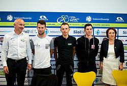 Bogan Fink, Mark Cavendish (RSA, Team Dimension Data), Rafal Majka (POL, Bora - Hansgrohe team), Jan Polanc (SLO, Team UAE Emirates) and Alenka Pahor Zvanut of STO during press conference of 24th Tour of Slovenia 2017 / Tour de Slovenie cycling race on June 14, 2017 in City museum, Ljubljana, Slovenia. Photo by Vid Ponikvar / Sportida