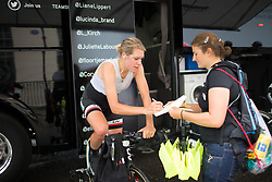 Ellen van Dijk (NED) signs an autograph while warming up for the Prudential Ride London Classique - a 66 km road race, starting and finishing in London on July 29, 2017, in London, United Kingdom. (Photo by Balint Hamvas/Velofocus.com)