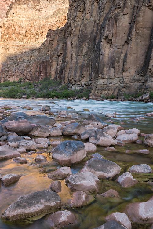 Boulders and the Colorado River below Lava Falls, Grand Canyon, Arizona.