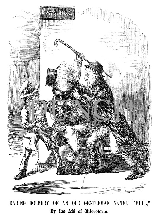 """Daring robbery of an old gentleman named """"Bull,"""" by the aid of chloroform."""